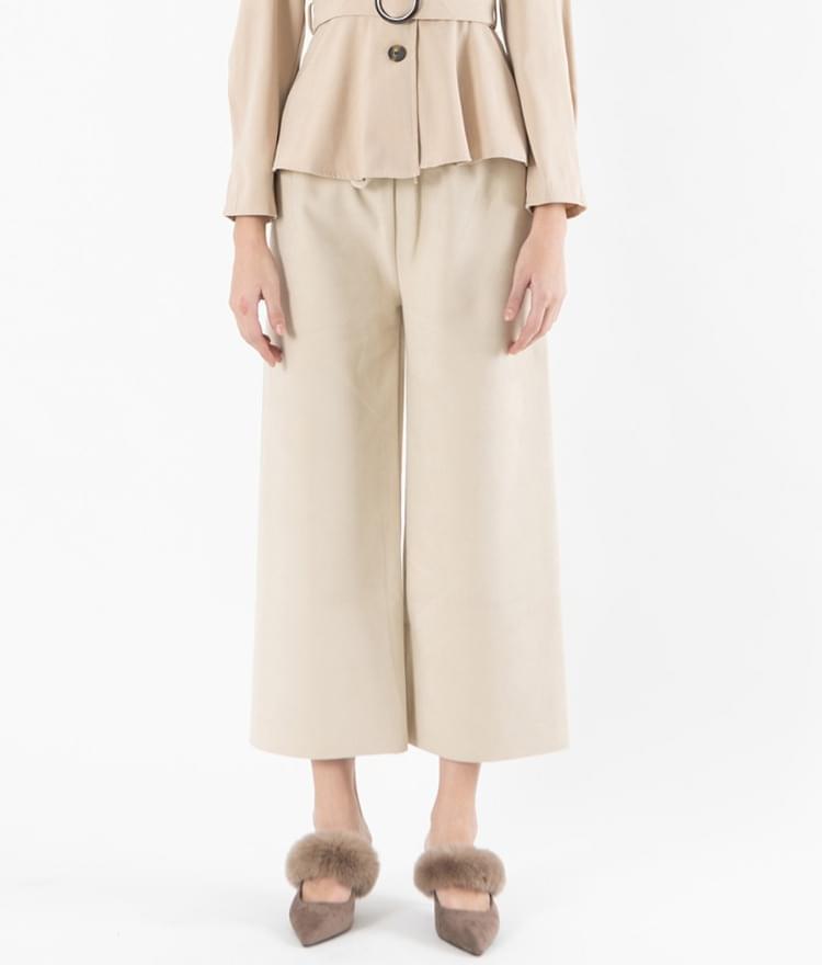 Wide brushed banding pants