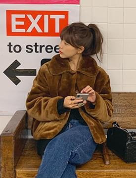 Soft collar fur jacket_H