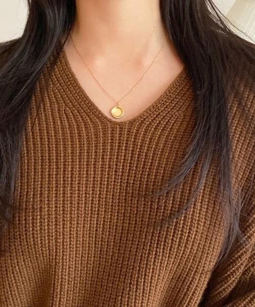 (silver925) curve necklace