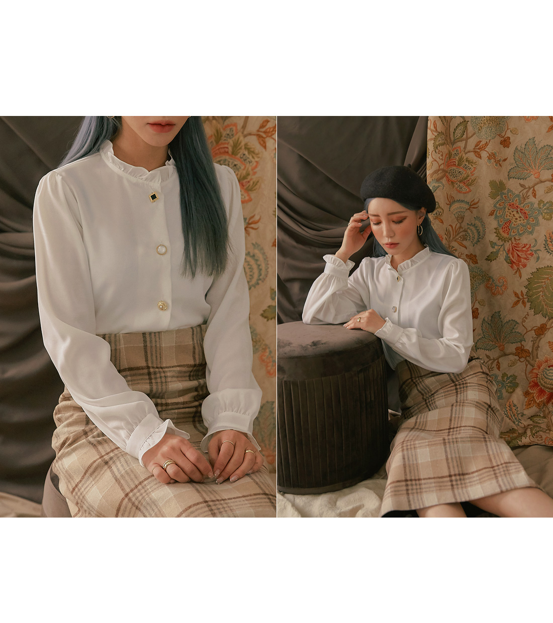 SILKY JEWELRY BUTTON FRILL BLOUSE