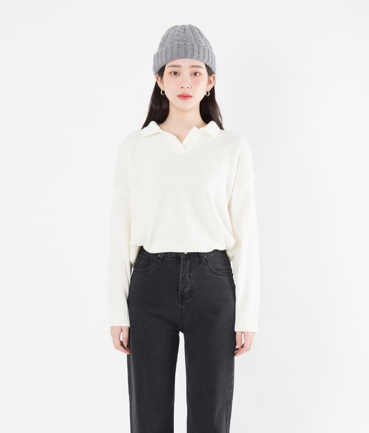 Basic collar knit T-shirt