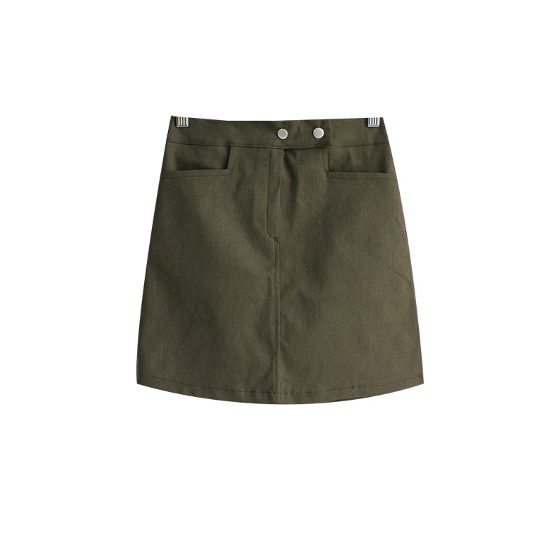 Marvel Two-Button Banding Wool Skirt