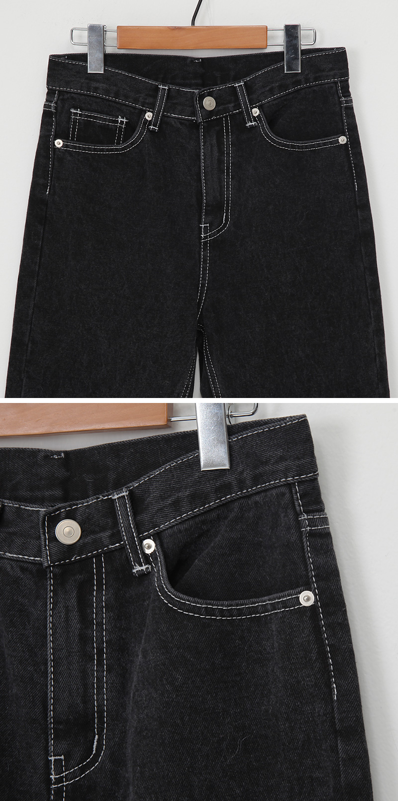 Stitch cutting denim pants_J