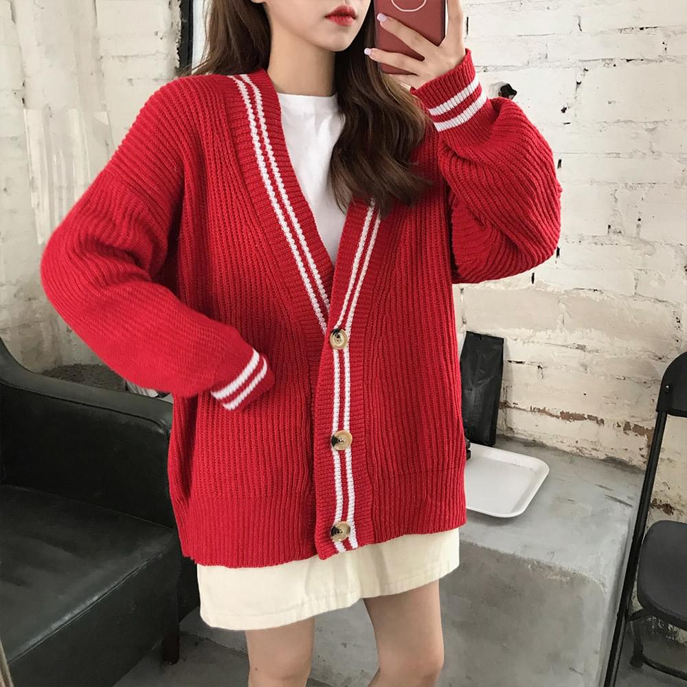 Two & two lined color cardigan