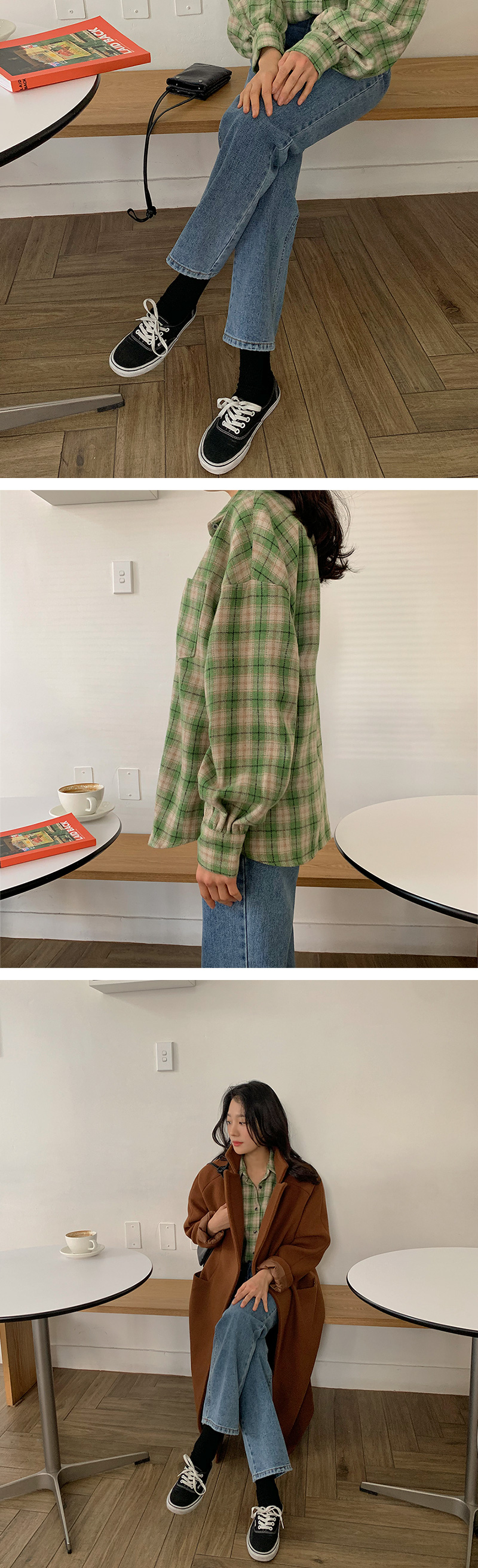 Almost wool check shirts_P (size : free)