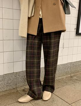 Wide wool check pants_Y (size : S,M)