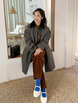 Wool corduroy collar coat_U (size : free)