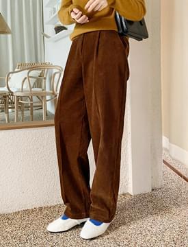 Ment corduroy pintuck pants_U