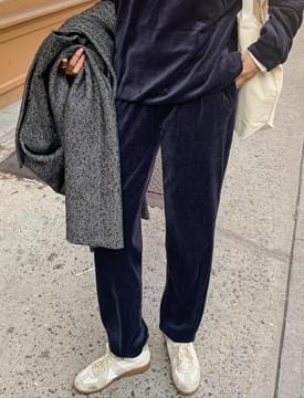 Soft velvet banding pants_A