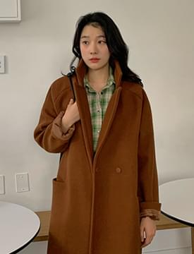 Wool button long coat_P (size : free)