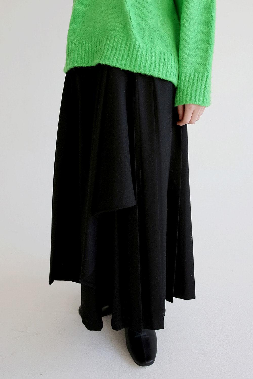 pleats wrap skirts (black)