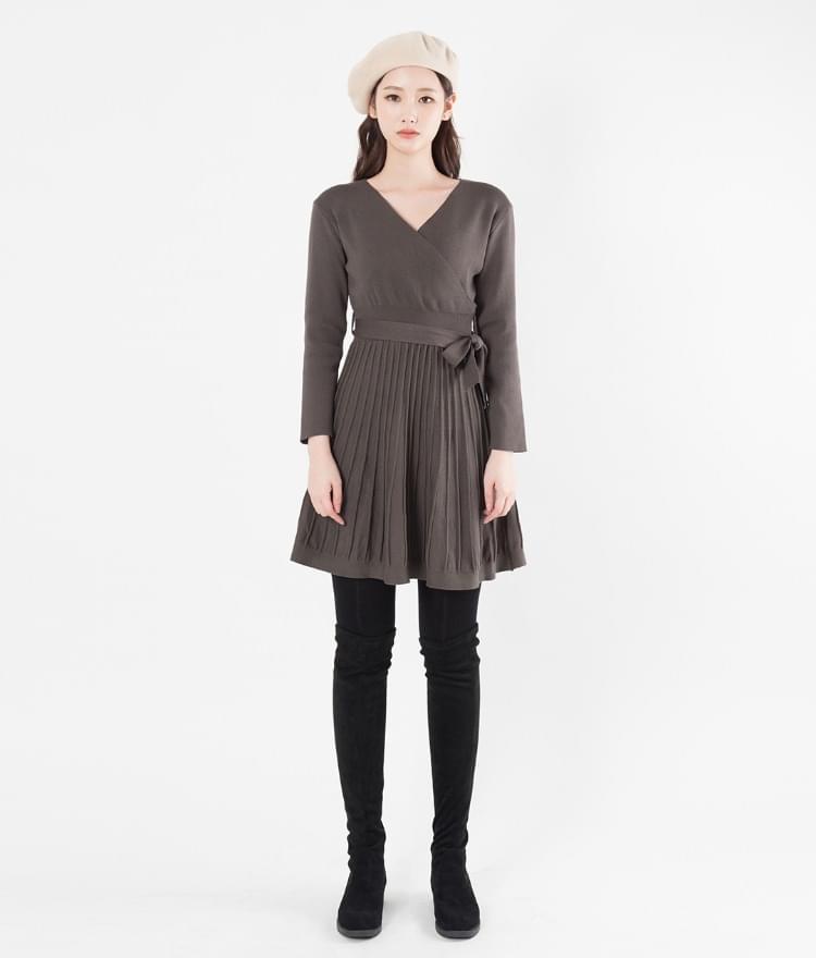 Ribbed Ribbon Dress 及膝洋裝