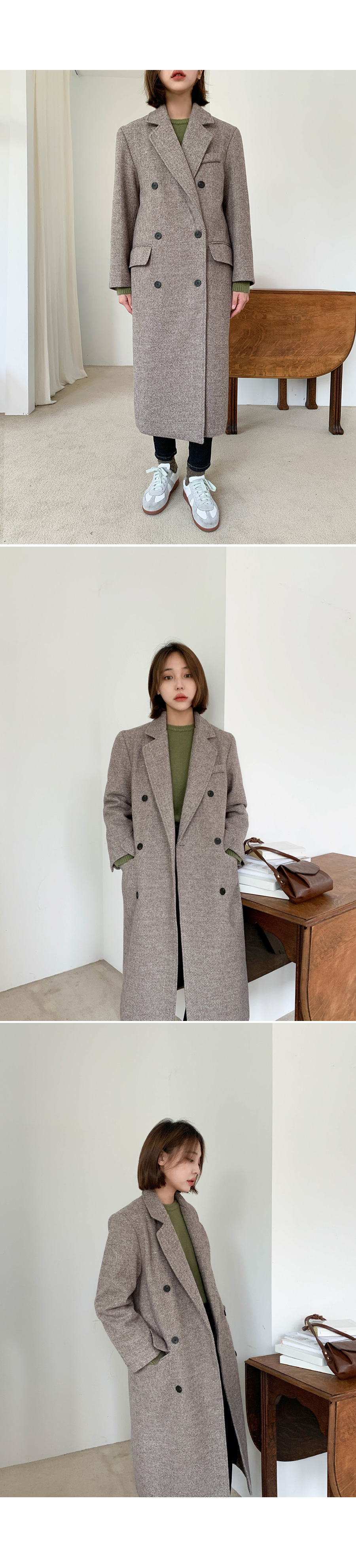 Wool herringbone quilted coat