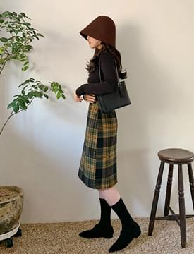 Flan wool long skirt_A (size : S,M)