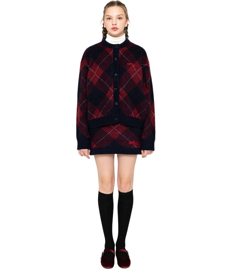 Heart Check Knit Cardigan Heart Check Knit Skirt (Wine)SET 套裝