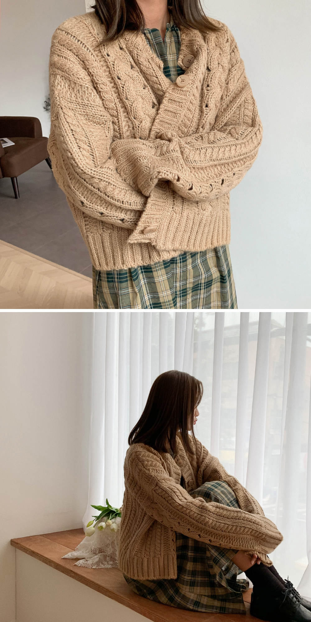 Semi-Crop Pretzel Knit Cardigan-cd