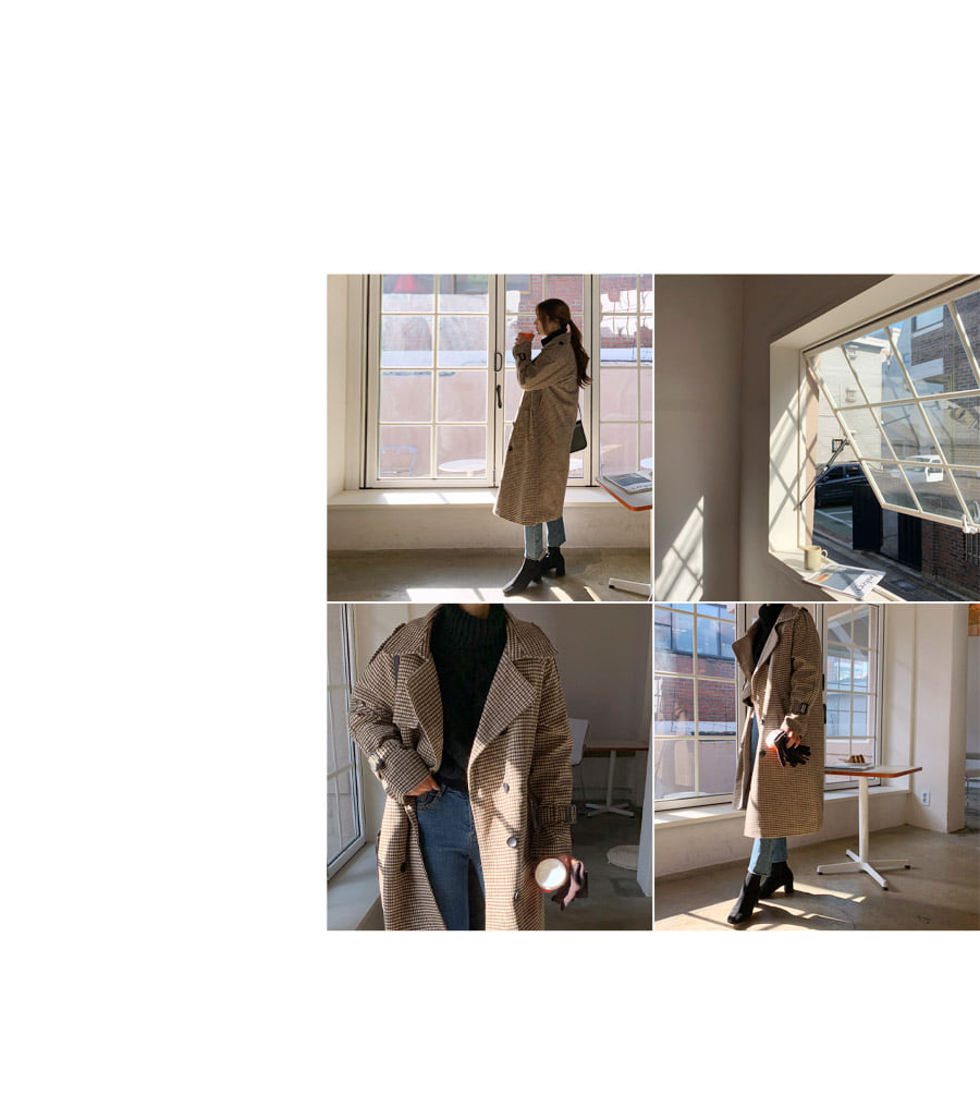 Check Trench Quilted Long Coat