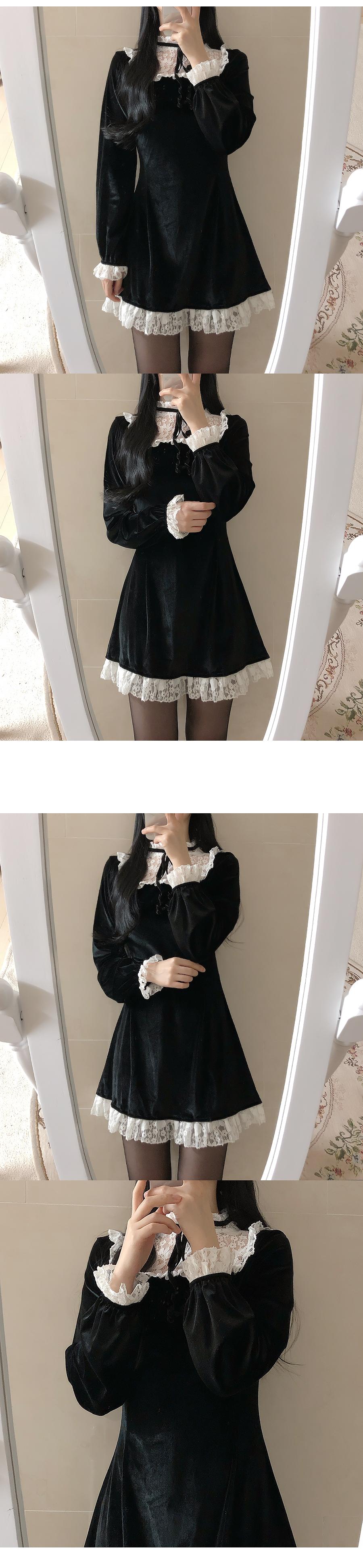 ♥ Made Lace Velvet Ribbon Dress