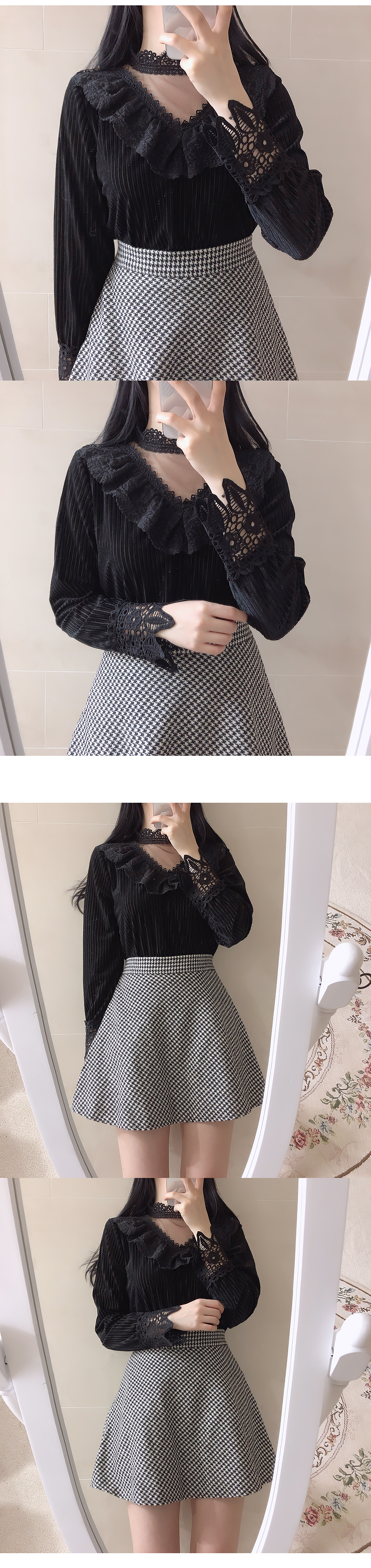 Lace Choker See Through Blouse