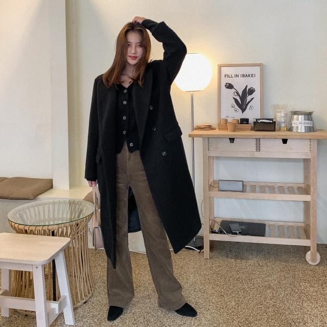 Double-button wool trim long coat