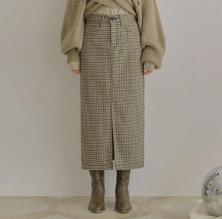 LYRA WOOL CHECK SLIT LONG SKIRT 裙子