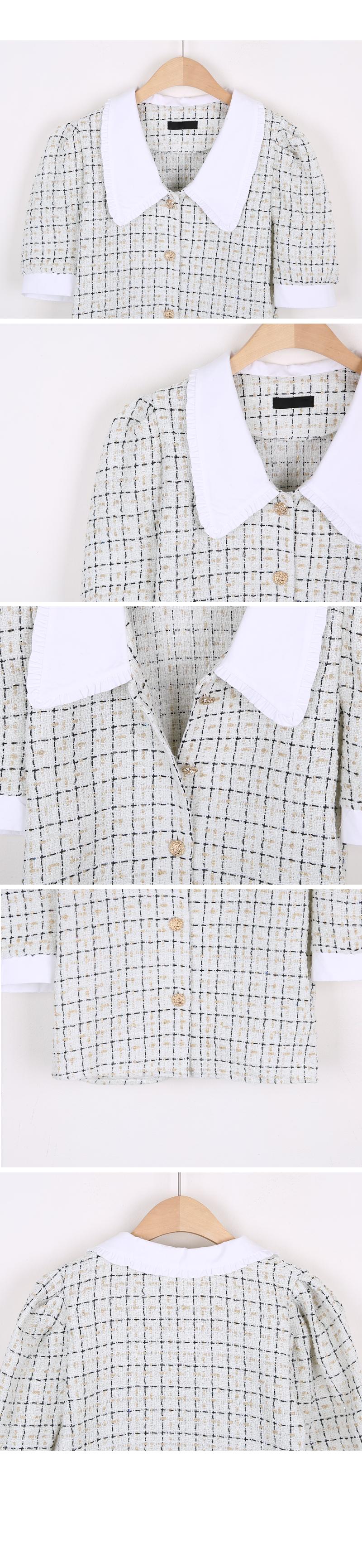 Tweed big collar blouse