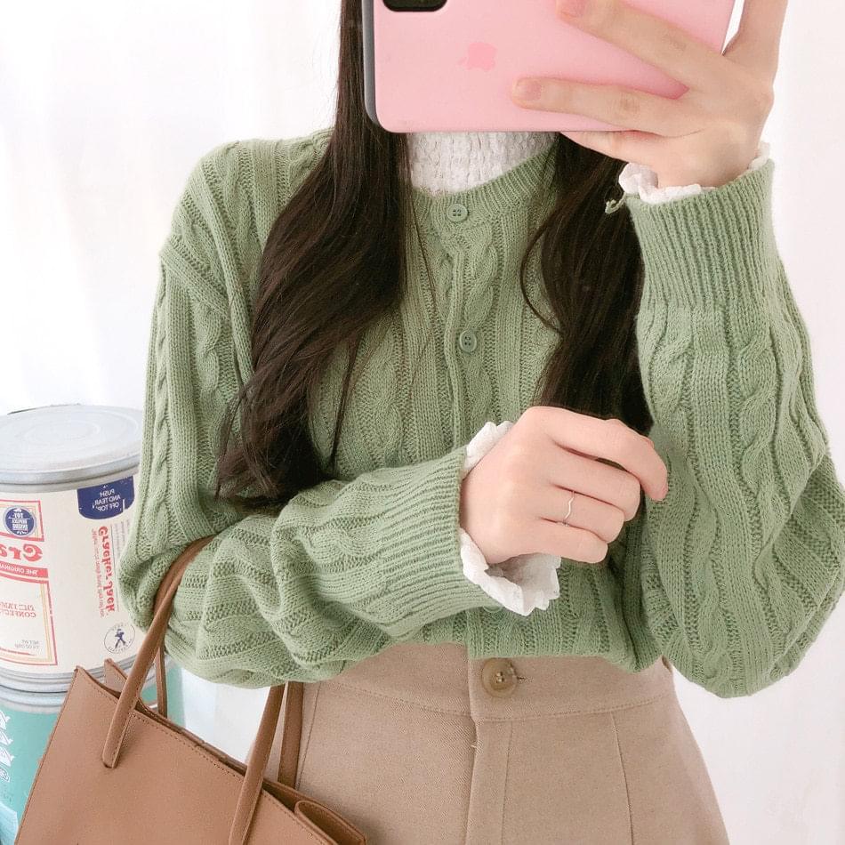 韓國空運 - 小圓領 寬鬆麻花針織開襟衫