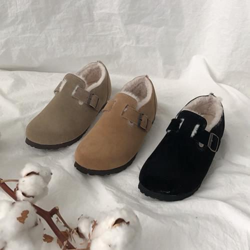 韓國空運 - 時尚穿插釦帶內毛絨休閒鞋 樂福鞋