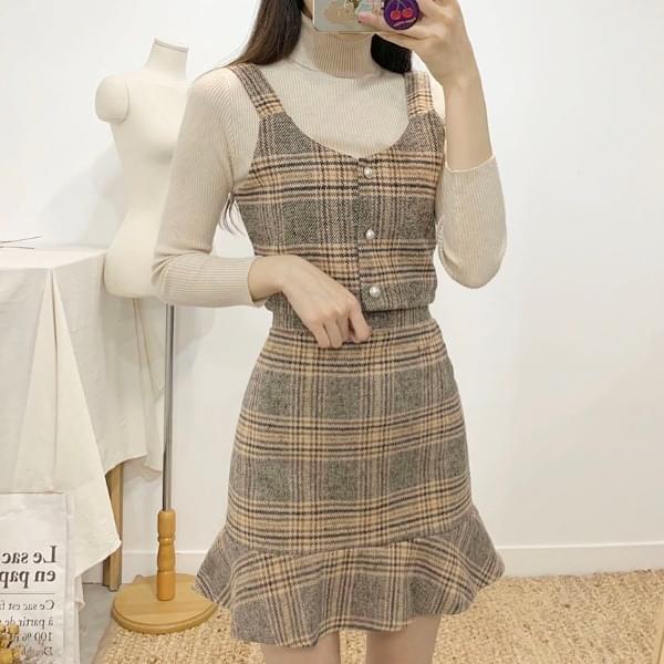 Linz Check Bustier Skirt SET 2colors