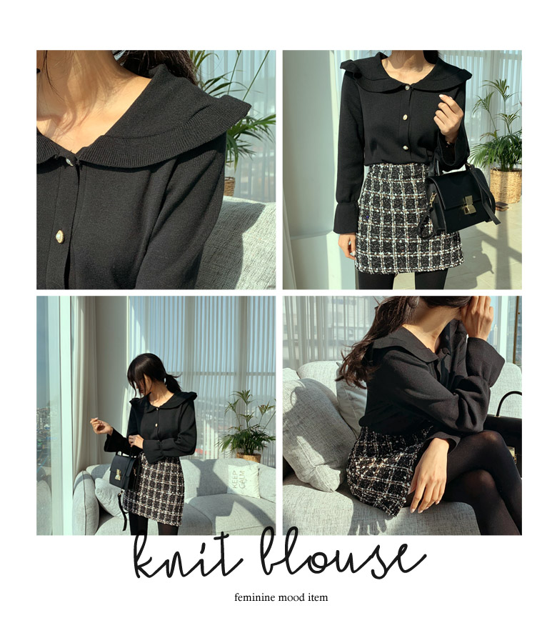 Knit Blouse with Pearl Buttons