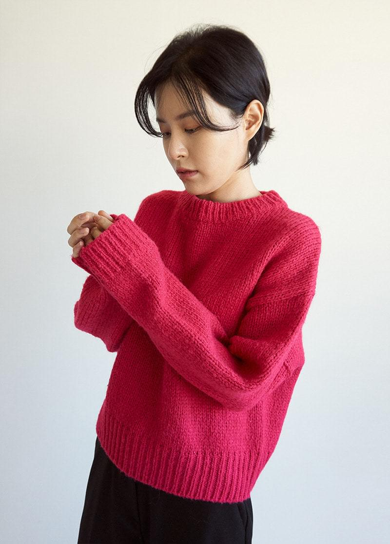 Round color wool knit