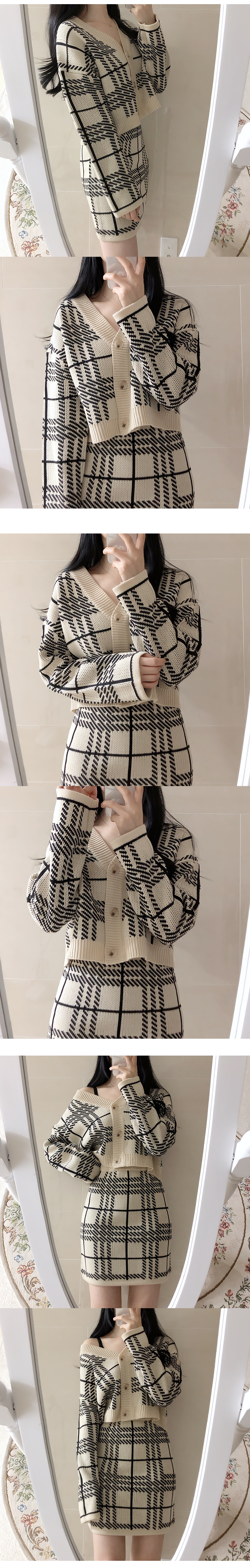 Cookie check cropped cardigan + knit skirt set