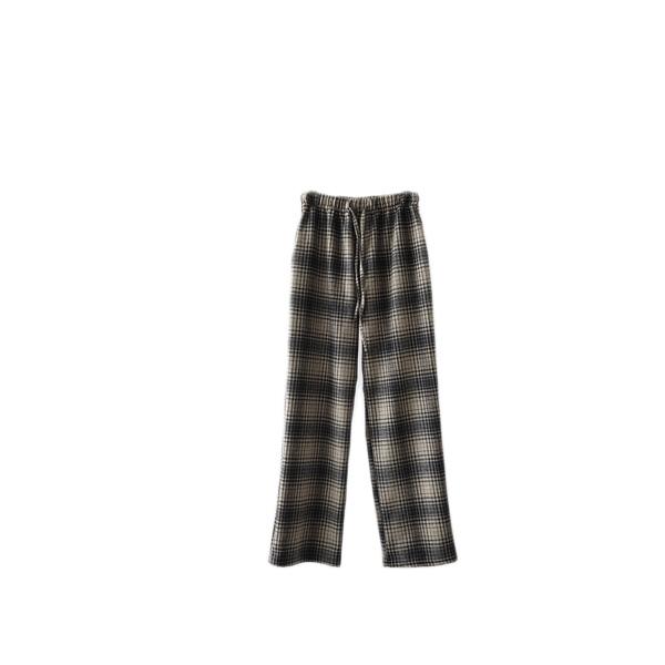 check pattern banding pants