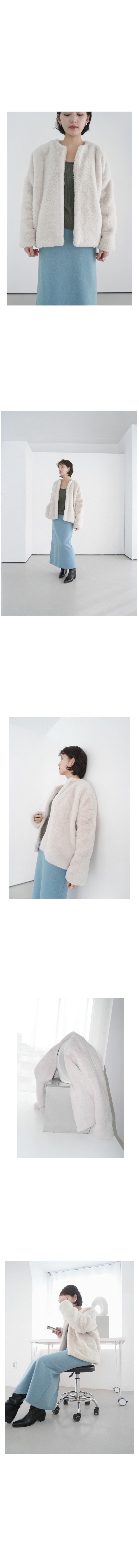 non collar fake fur jacket