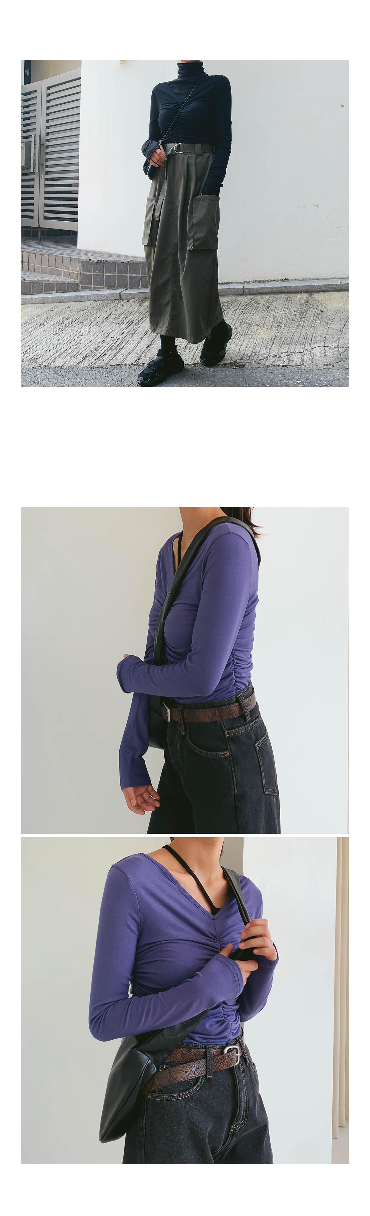 Shirring Bebe V-neck T-shirt