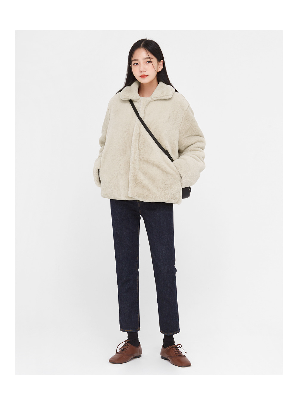fluffy hidden padding fur jacket