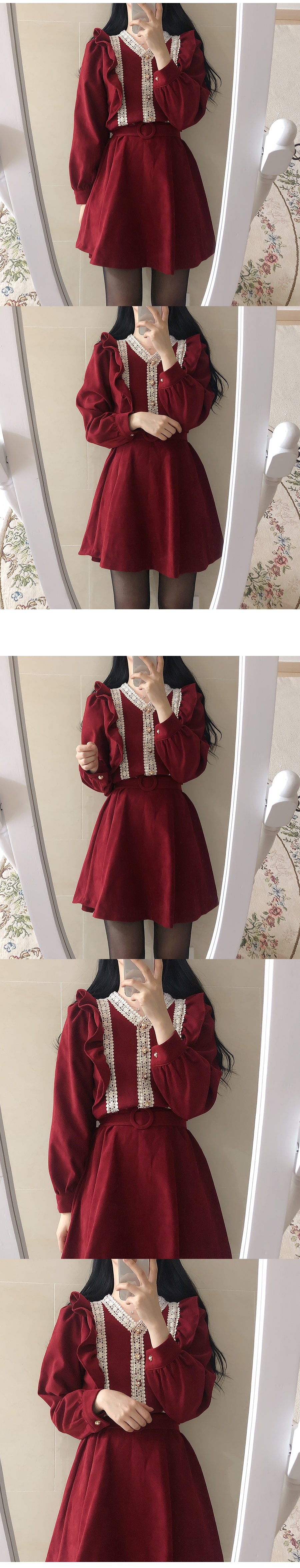 Belt Set ♥ Melco Lace Ruffle Dress