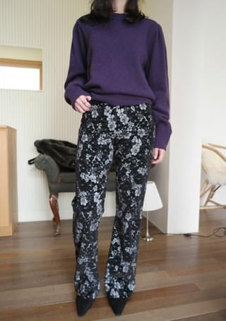 velvet flower boots cut pants (2colors)