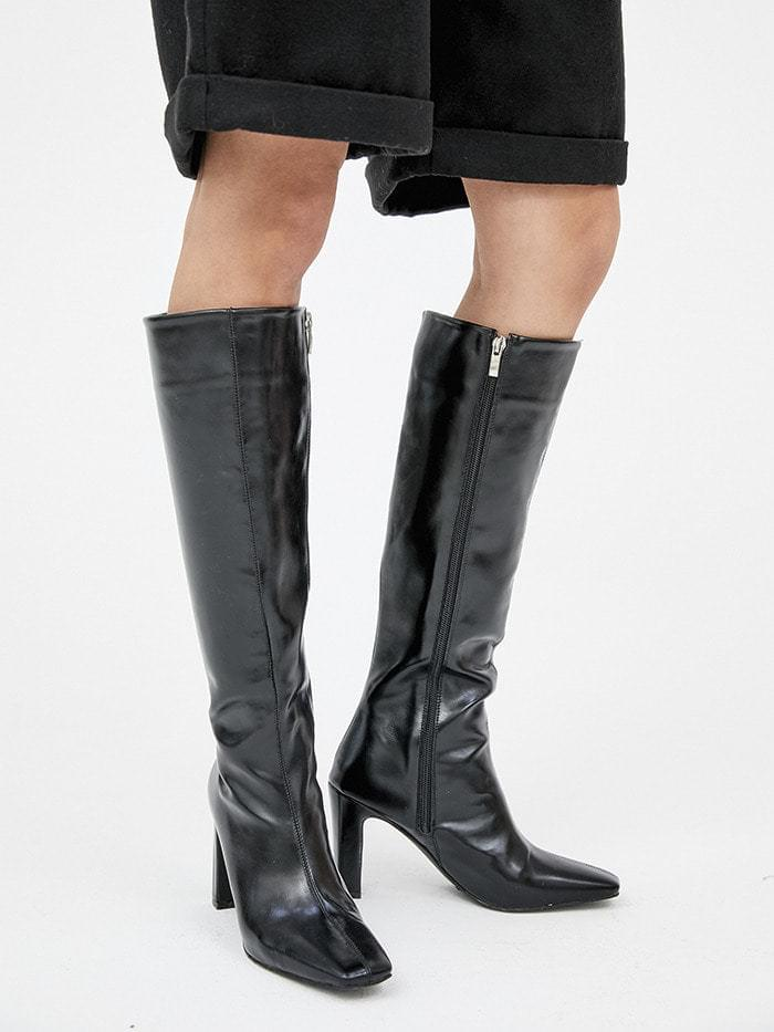 square slim leather long boots (3 color)
