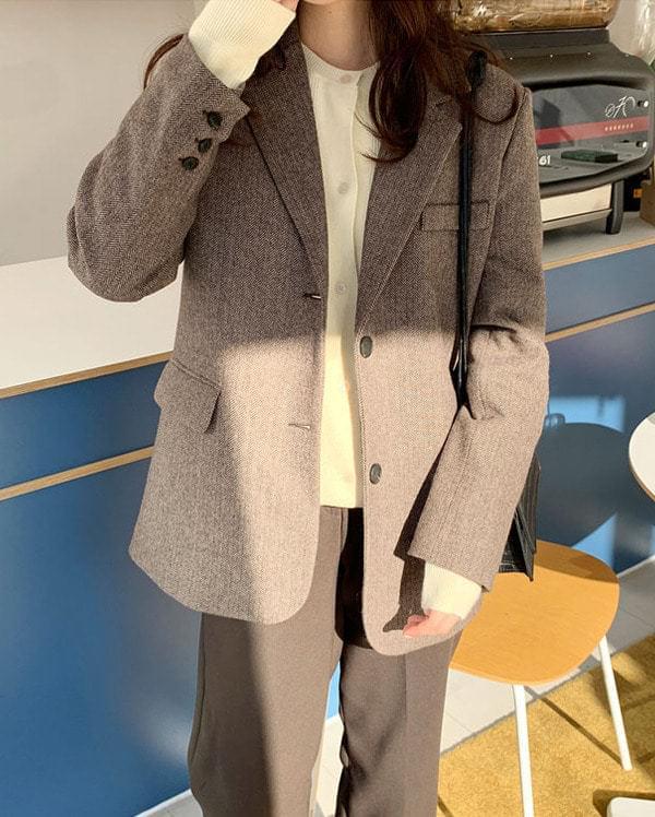 mose wool napping herringbone jacket ジャケット