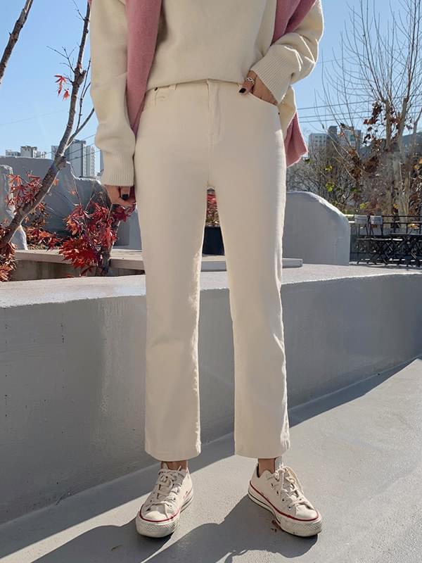 Winter cotton peach brushed straight pants 長褲