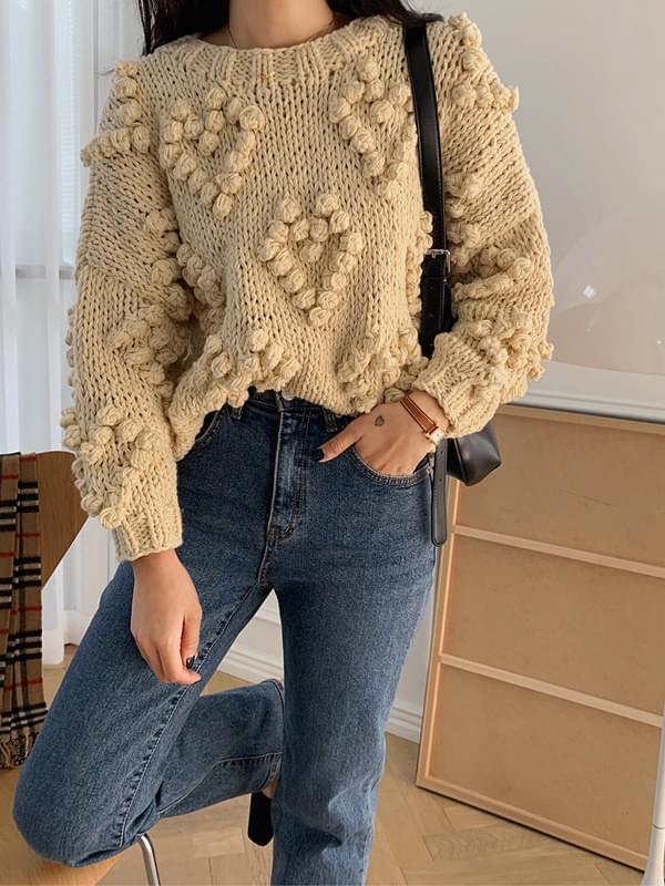 Love You Pom Pom Handmade Knit 針織衫