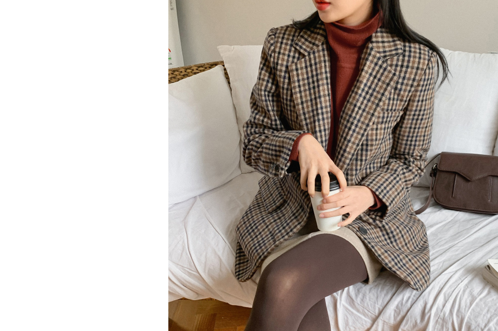 Check Pattern Single Wool Jacket-jk