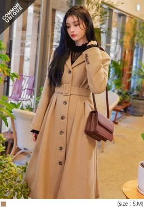 WOOL 50% BELT PRINCESS LONG COAT