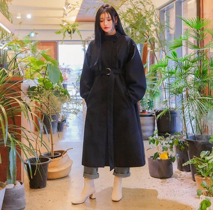 WOOL BELT CHINA COLLAR LONG COAT