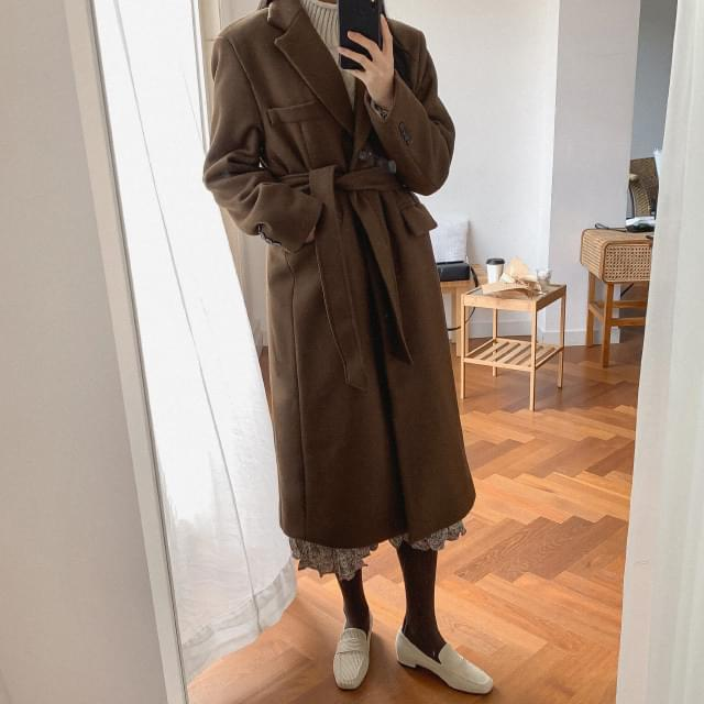 Strap quilted lining wool coat-ct
