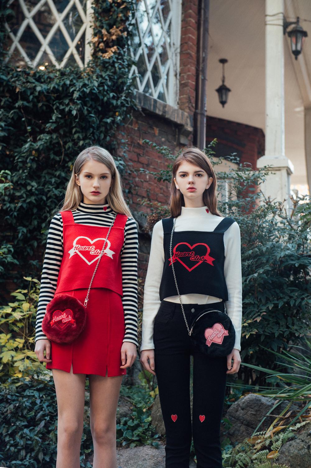 Heart Fur Mini Bag(chain&strap) (Black)