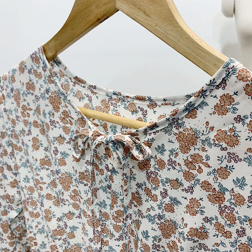 圓領繫帶縮腰碎花洋裝(3色)