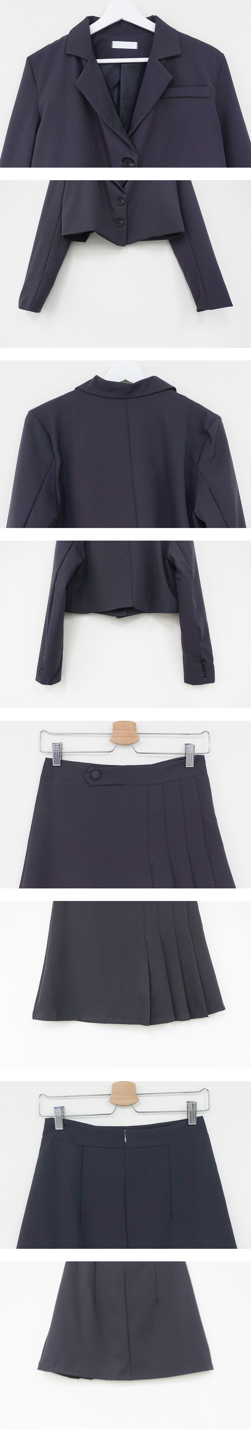 Cropped Jacket + Wrinkle Mini Skirt