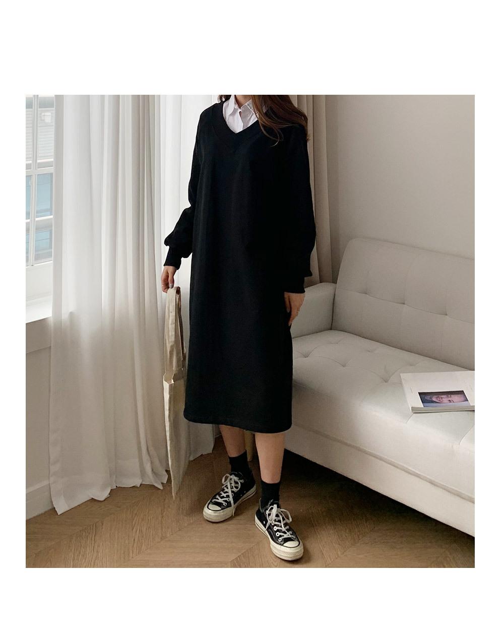 Valine V Neck Man to Man Dress